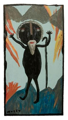Untitled (Man with walking stick) by American outsider artist Mose Tolliver (c.1919-2006). via IntuOutsider Art