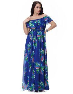 Chiffon Summer Dress Slash Neck Sleeveless Blue Printed Floral Long Maxi  Dress Plus Size eec9ee6a3e0a