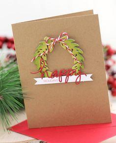 Happy Holidays Wreath Card by @damasklove using the Laurel Wreath and Merry & Bright dies. #EssentialsbyEllen #ellenhutsonllc #LaurelWreath #Merry&Bright