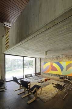 The Seidlers' Killara House  1966 The structure of the house is left exposed, with remnants of formwork left in the concrete.  Artwork  Frank Stella