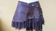 mini de cuero tribal falda cinturón con bolsillo por wildskin