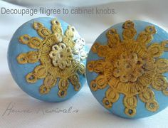 I'll make these inexpensive knobs to embellish lids on jars and altered cans! House Revivals: Lace Filigree Cabinet Knobs {Anthropologie Inspired} These w paper but what about using real lace. Your choice. Modge Podge Projects, Diy Craft Projects, Craft Ideas, House Projects, Project Ideas, Crochet Projects, Decorating Ideas, Decor Ideas, Knock Off Decor