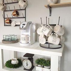 DIY farmhouse style coffee bar and hot cocoa bar! | rae dunn mugs | farmhouse style shelves | vinatge