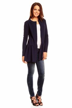 Wyjątkowa granatowa tunika damska Stark, Work Fashion, That Look, Tunic, Blazer, Amazon, Blouse, Long Sleeve, Sleeves