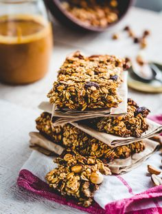 protein bars granola with seeds, peanut butter and dried fruit, snack