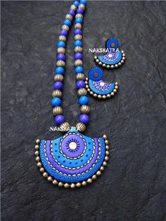 [short-description]Terracotta is a type of earthenware that is made from natural clay. We provide an exceptional range of trendy and traditional terracotta jewe Handmade Jewelry Designs, Handmade Necklaces, Handmade Jewellery, Antique Jewellery, Funky Jewelry, Beaded Jewelry, Jewelry Crafts, Teracotta Jewellery, Terracotta Jewellery Designs