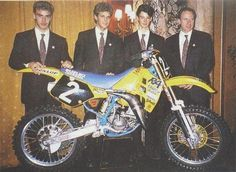 Lots of big names... L to R: Pedro Tragter, Dave Strijbos, Stefan Everts and Sylvain Geboers. 1989 125cc team Suzuki