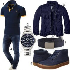 Blaues Herren-Outfit mit Timberland Boots Complete blue outfit for men with Gigandet automat Business Casual Men, Men Casual, Tomboy Fashion, Mens Fashion, North Face Jacke, Jack And Jones Jeans, Boy Outfits, Casual Outfits, Mode Man