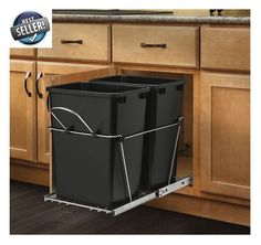 Pull Out 35 Quart 2 Bin Kitchen Garbage Trash Can Plastic Waste Container #RevAShelf