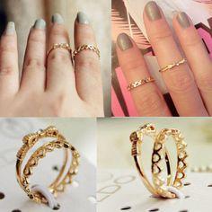 2PCS Fashion Women Gold Plated Bowknot Heart Crystal Wave Knuckle Midi Ring New #FashionElegant #KnuckleMidiRing