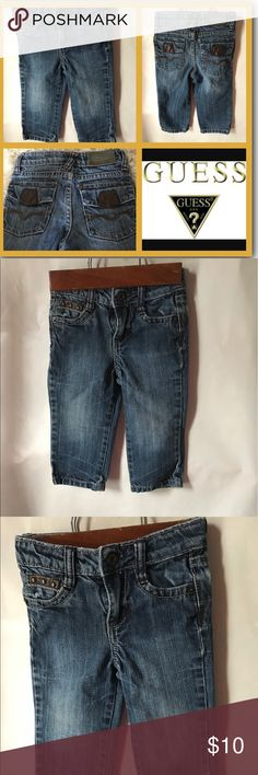 Guess blue jeans baby boys size 18 months Great condition with small distress on brown part of pocket (not noticeable).  Adjustable waist. Sizing chart available in pictures. Guess Bottoms Jeans