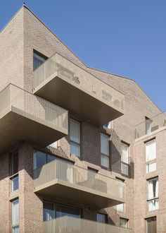 Brentford Lock , Brentford, 2016 – Duggan Morris Architects - All About Balcony Railing Design, Facade Design, Exterior Design, House Design, Residence Senior, Duggan Morris, Brentford, Brick Architecture, Social Housing