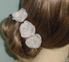 Set of 3 Hand Pressed Silk Satin Organza Flower by AnnLeslie
