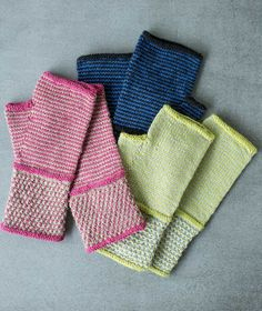 Free pattern for the 2017 LYS Tour. Stripes and spots: these light, silky mitts show off both! Knit in Shibui Staccato with slip stitch and one-row striping.