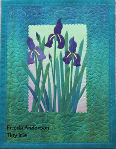"""Iris  - raw edged fused collage quilt 9"""" x 11"""""""