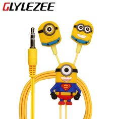 Glylezee Cartoon Minions Earphone Headset Earbuds In Ear 3.5mm Wired Headphone for Cellphone MP3 Music Player(China (Mainland))