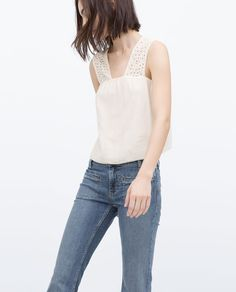 TOP WITH EMBROIDERED STRAPS-Tops-WOMAN-SALE | ZARA United States