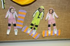 Olympic Theme in PreK. Making patterned snowboards (ABAB and AABB). Helps with early math skills and fine motor control.