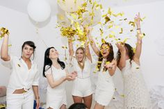 Girls whiteparty party balloons confetti happy happines