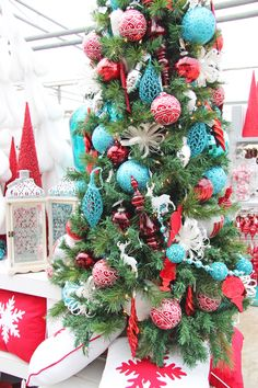 christmas decor red christmas trees turquoise christmas christmas colors christmas tree decorations - Red White And Turquoise Christmas Decor