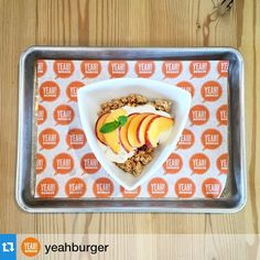 Atlanta's Yeah Burger offers local fare in a healthy, grassfed fast food format. The side of the month: atlantafresh yogurt with local Georgia peaches, organic, gluten free granola and local honey.