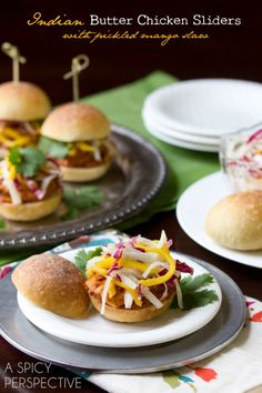 Indian Butter Chicken Sliders with Pickled Mango Slaw (these look sooo good!). #food #Indian #burgers #sliders #starters #appetizers #party