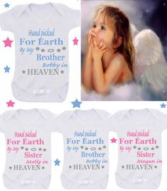 Heaven  brother/sister with name etc  1 x bodysuit or 1 x T-shirt or 2 x white bibs or DESIGN YOUR OWN by BABYGROWSTREET on Etsy