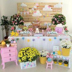 Mantel y faldón mesa Baby Party, Baby Shower Parties, Baby Boy Shower, Rainbow Birthday, Baby Birthday, Birthday Parties, Cloud Party, Sunshine Birthday, Unicorn Party