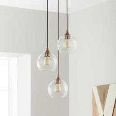 Shop for Uptown Clear Globe Cluster Copper Pendant. Get free delivery On EVERYTHING* Overstock - Your Online Ceiling Lighting Store! Bathroom Pendant Lighting, Bathroom Ceiling Light, Ceiling Lights, Room Lights, Lighting Store, Home Lighting, Stairway Lighting, Club Lighting, Dining Lighting