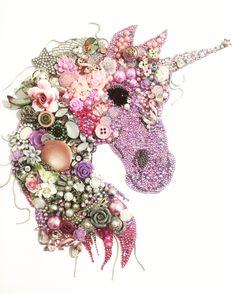 Vintage Jewelry Art Unicorn Button art and mixed media art by lessie Unicorn Crafts, Unicorn Art, Embroidery Jewelry, Embroidery Art, Unicorns And Mermaids, Diy Buttons, Crafts With Buttons, Button Crafts, Button Art Projects
