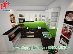 Tủ bếp MFC chữ U xu hướng mới cho phòng bếp hiện đại PTL161