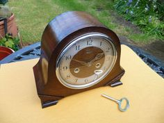 Vintage restored,  1950s Smiths Enfield striking mantle clock with key.