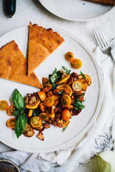 Smokey vegan roasted eggplant & summer squash with millet socca |