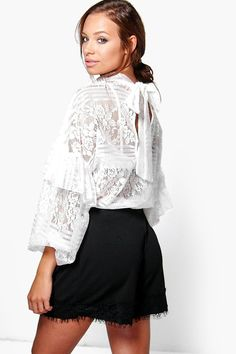 Mia Lace Ruffle Sleeve Tie Neck Oversize Blouse bbc14dced