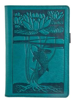 Small Leather Portfolio Notebook | Water Lily Koi