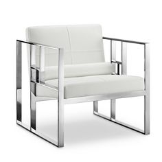 The Westgate Lounge Chair has a futuristic look that can bring some modern style to any living room. With a chic faux leather seat and polished stainless steel