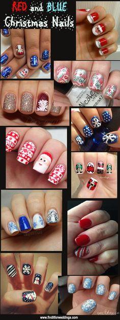 Christmas nail designs Santa nails www.finditforweddings.com Nail Art Snowflake nails