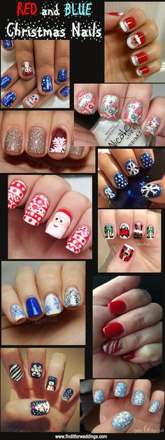 Christmas Nails www.finditforweddings.com Nail Art Design Red Nails Blue Nails