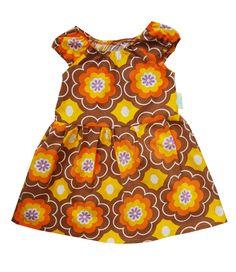 zomerjurk van vintage stoffen bruin oranje paars door sloppopyeah, $38.10