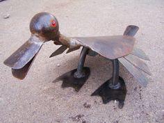 Quacker Jack- Salvaged Iron Garden Ornament- Metal Art Sculpture- Duck, Bird, - One of a Kind. $85.00, via Etsy.