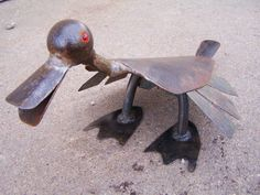 Quacker Jack- Salvaged Iron Garden Ornament- Metal Art Sculpture- Duck, Bird, - One of a Kind. $85.00, via Etsy.
