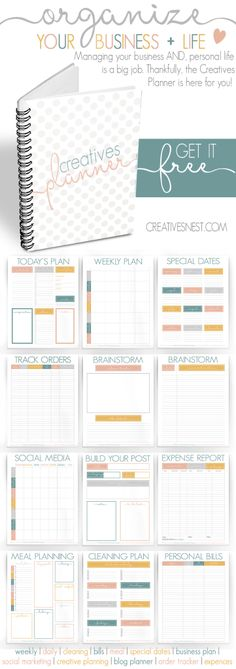 Ilmainen suunnittelupohja, This FREE planner is perfect for maintaining your personal AND business life all in one easy spot. Free Planner, Planner Pages, Happy Planner, Printable Planner, Free Printables, Planner Ideas, Work Planner, Planner Inserts, Agendas Diy