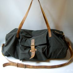 HUGE canvas/leather duffel bag deep green/ by NorthForkBagCo on Etsy