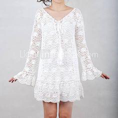 Vestido Blanco Medios Circulos Patron - Patrones Crochet