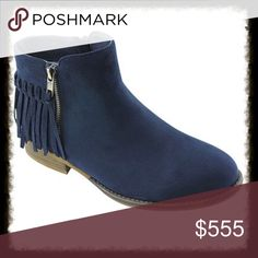 Dark Navy Suede Fringe Ankle Boots Gorgeous hard to find navy faux suede boots with zippers. These are such a cute style with fringe and double zippers. A low comfortable heel will make these your go to boots this season. Soft lined interior. All man made materials. These boots are very comfortable. I wore them for 8 hours standing on concrete and my feet didn't hurt. Shoes Ankle Boots & Booties