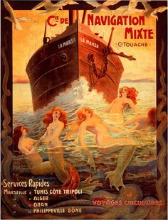 Vintage Voyages Circulaires This is a rare reproduction of a vintage travel poster of the Cie de Navigation Mixte Voyages Circulaires travel poster. It features several nude mermaids / women holding hands.*
