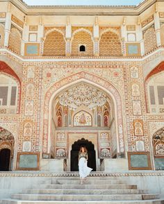 Amer Fort (or Amber Fort) in Jaipur, India has gorgeous detail in every corner.