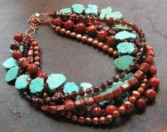 Bead Lover's Torsade - No7/Turquoise, Carnelian, FWPearl, Goldstone | miabellacollection-jewelry - Jewelry on ArtFire