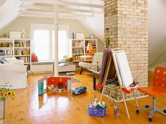 20 Wonderful Examples of Repurposing an Attic for Kids Playroom Love this room!