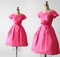 1960s pink silk party dress by 86Vintage86 on Etsy